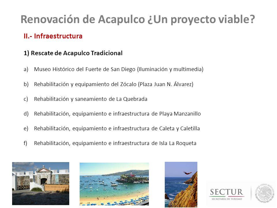 Programa de Rescate de Acapulco GOB EDO- FONATUR PROGRAMA DE RESCATE DE ACAPULCO FONATUR (ZONA ACAPULCO TRADICIONAL) COMPROMISO PRESIDENCIAL Regeneración Caleta y Caletilla (Mejorar movilidad con rehabilitación del puente que une ambas playas y rehabilitación y equipamiento de servicios) Rehabilitación del Paseo Caleta – Caletilla (Centro de espectáculos, Centro Comercial y de artesanías, Centro deportivo Jai alai, pabellón gastronómico, mercado y restaurantes gourmet, dos zonas de fuentes interactivas, malecón, Museo Marino, estructura para sombra en paso peatonal, cubierta de madera, reubicación de ambulantes, transporte público y construcción de andadores peatonales, áreas verdes, integración con el Malecón) Rehabilitación, equipamiento e infraestructura de Caleta y Caletilla Regeneración del Centro Histórico Reconstrucción y conservación del Centro Histórico (zona gastronómica, corredor cultural, zona de comercio y servicios (turísticos, turísticos baja) y zona artesanal Rehabilitación y equipamiento del Zócalo (Plaza Juan N.