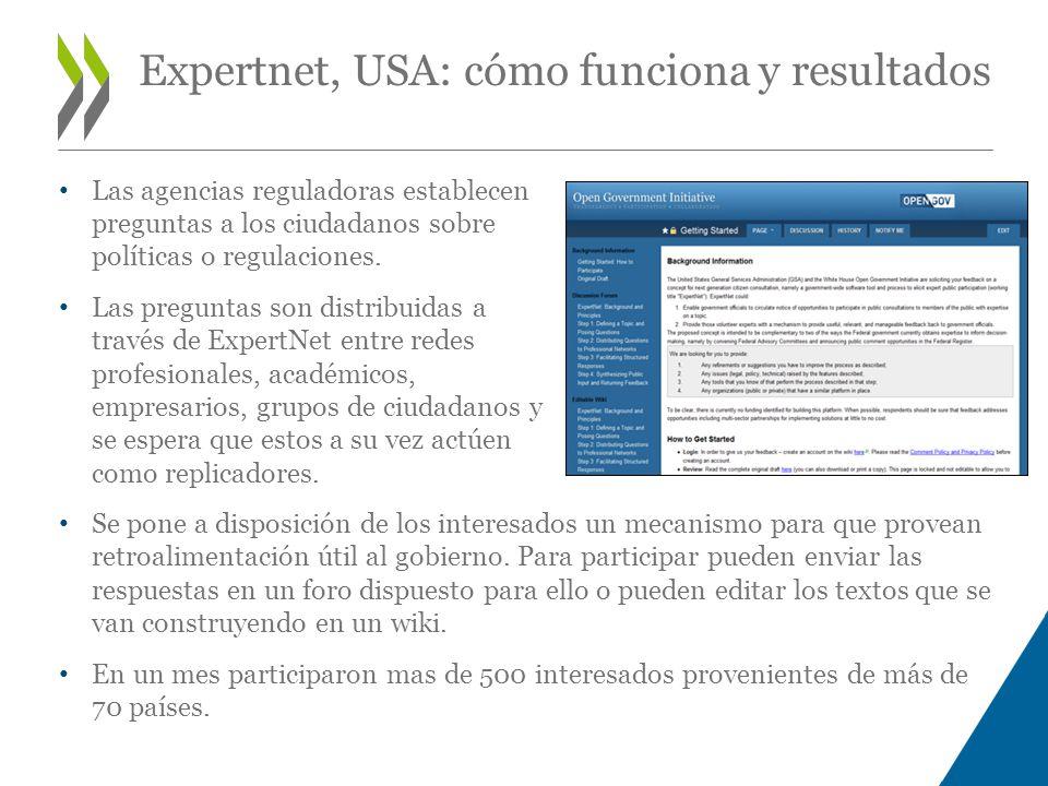Expertnet, USA: cómo funciona y resultados Las agencias reguladoras establecen preguntas a los ciudadanos sobre políticas o regulaciones.