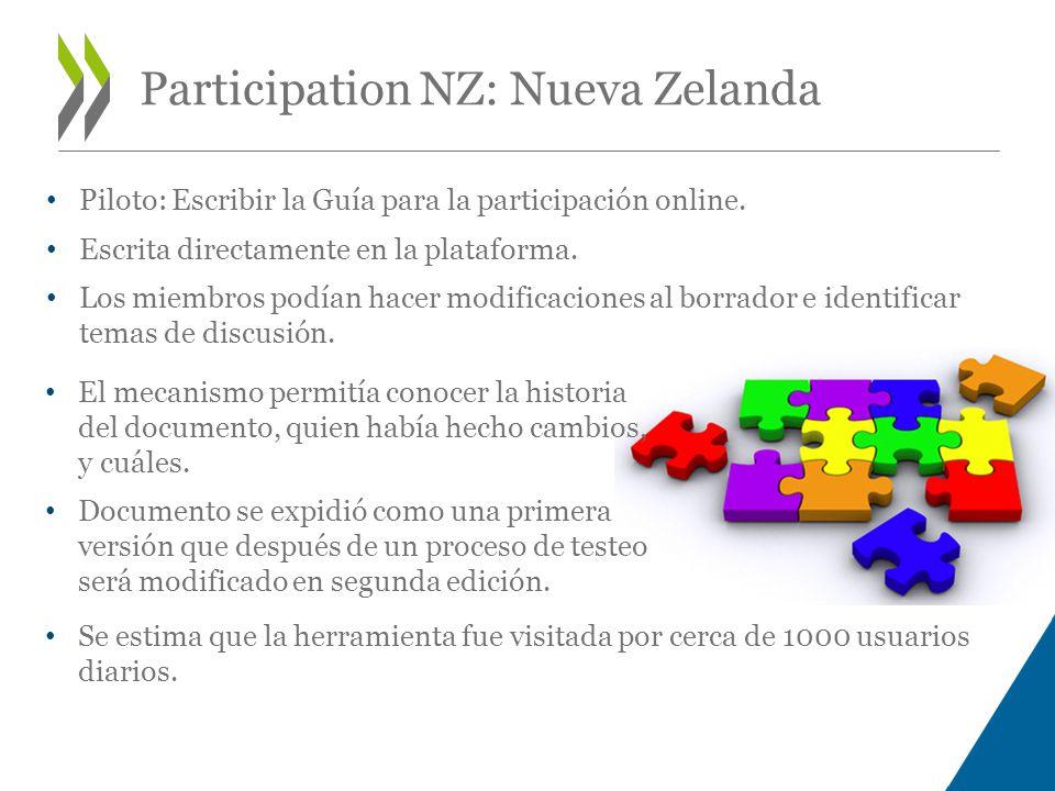 Participation NZ: Nueva Zelanda Piloto: Escribir la Guía para la participación online.
