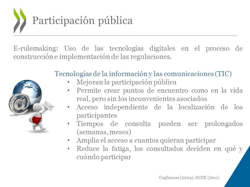 E-rulemaking: Uso de las tecnologías digitales en el proceso de construcción e implementación de las regulaciones.