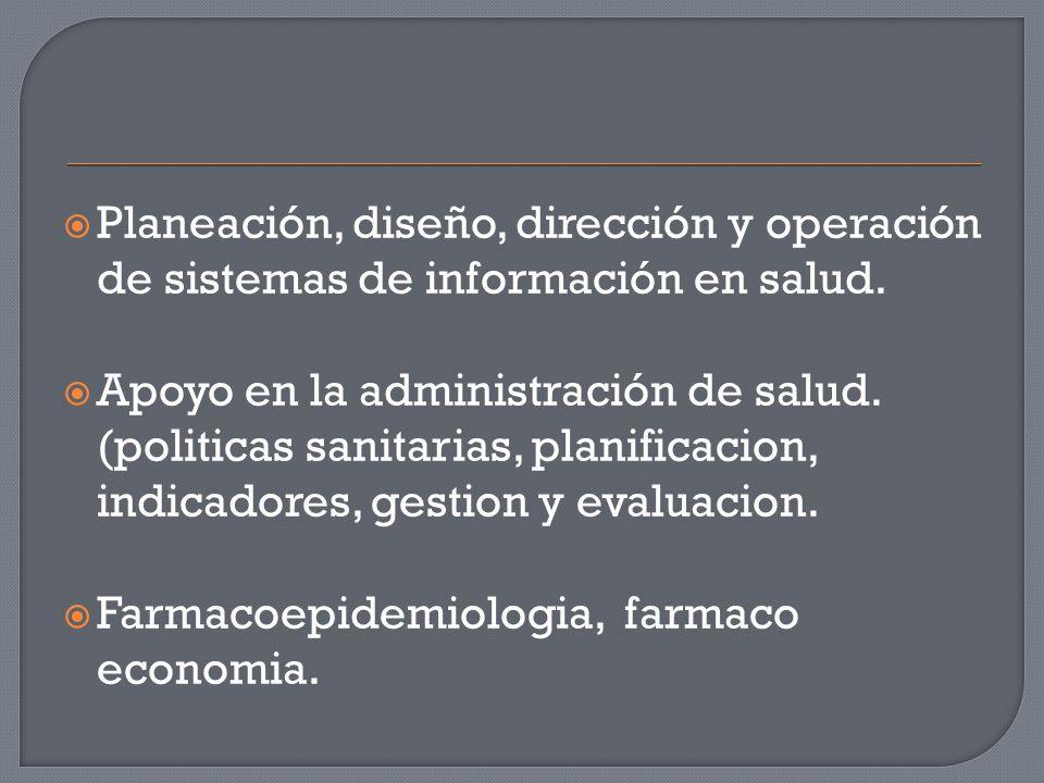  Planeación, diseño, dirección y operación de sistemas de información en salud.