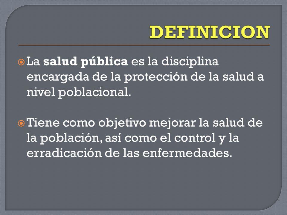  La salud pública es la disciplina encargada de la protección de la salud a nivel poblacional.