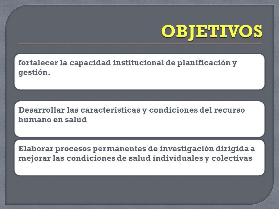 fortalecer la capacidad institucional de planificación y gestión.