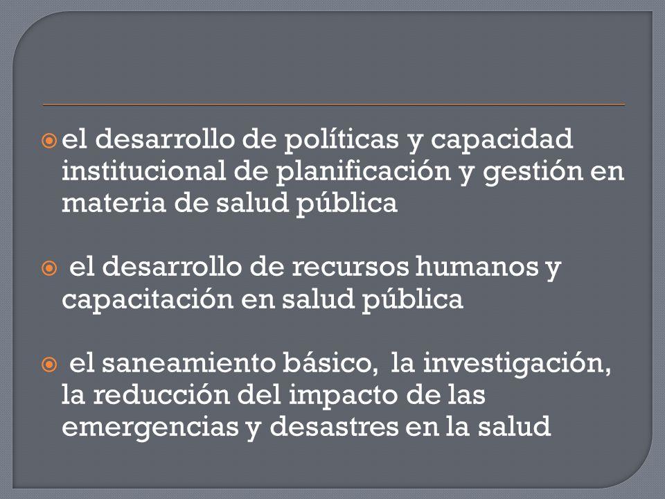  el desarrollo de políticas y capacidad institucional de planificación y gestión en materia de salud pública  el desarrollo de recursos humanos y capacitación en salud pública  el saneamiento básico, la investigación, la reducción del impacto de las emergencias y desastres en la salud
