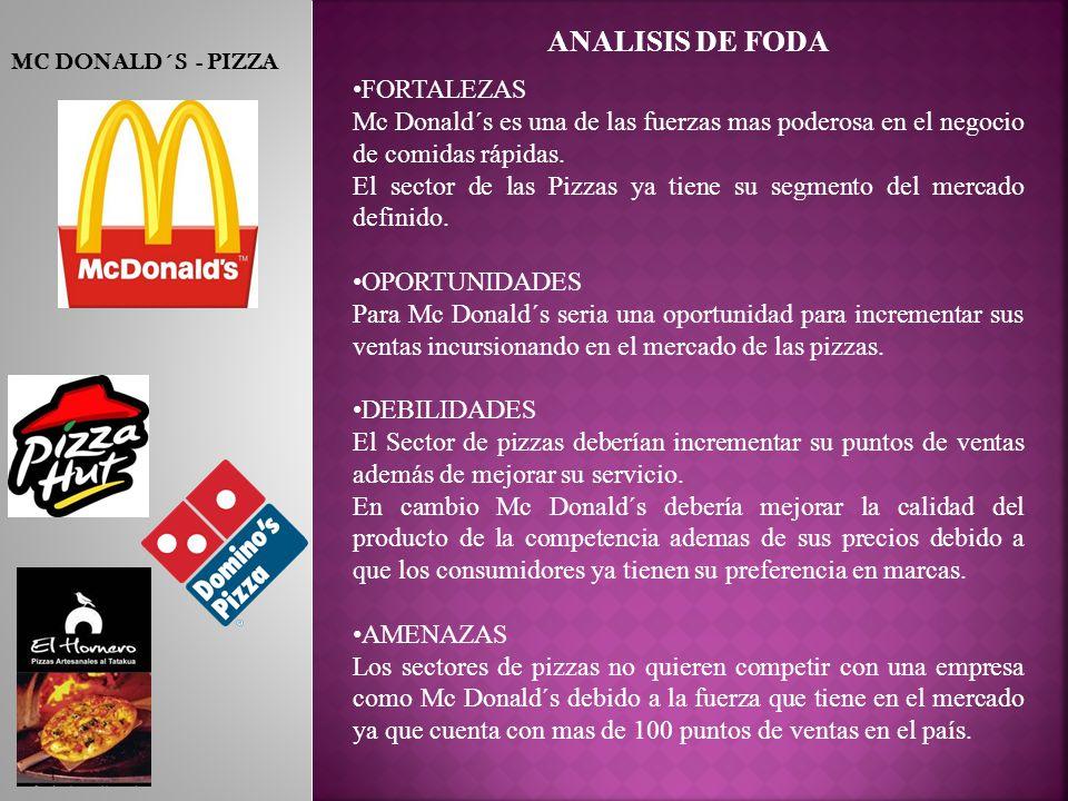 MC DONALD´S - PIZZA ANALISIS DE FODA FORTALEZAS Mc Donald´s es una de las fuerzas mas poderosa en el negocio de comidas rápidas.
