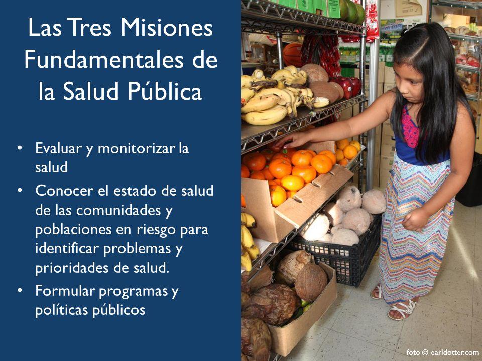 Las Tres Misiones Fundamentales de la Salud Pública Evaluar y monitorizar la salud Conocer el estado de salud de las comunidades y poblaciones en riesgo para identificar problemas y prioridades de salud.