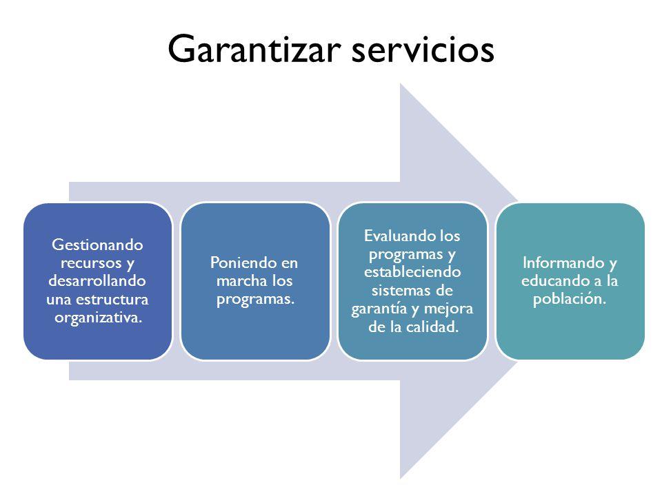 Garantizar servicios Gestionando recursos y desarrollando una estructura organizativa.