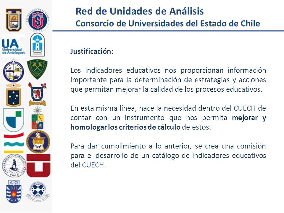 Red de Unidades de Análisis Consorcio de Universidades del Estado de Chile Justificación: Los indicadores educativos nos proporcionan información importante para la determinación de estrategias y acciones que permitan mejorar la calidad de los procesos educativos.