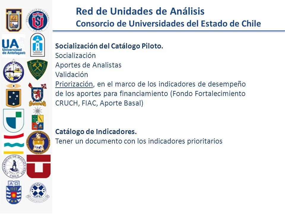 Red de Unidades de Análisis Consorcio de Universidades del Estado de Chile Socialización del Catálogo Piloto.
