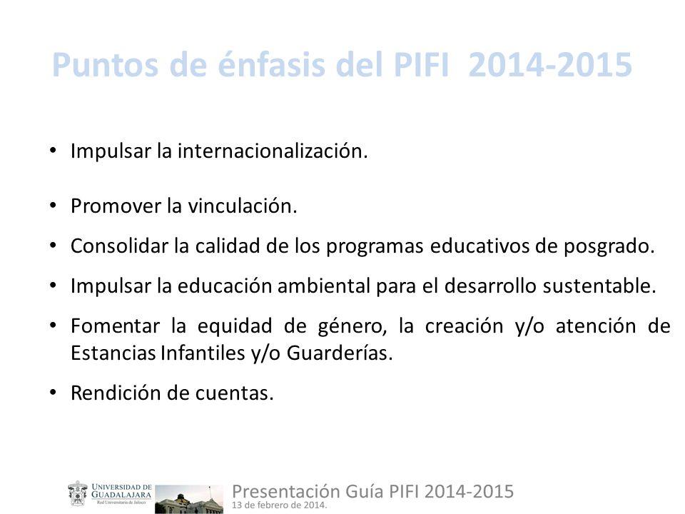Puntos de énfasis del PIFI 2014-2015 Impulsar la internacionalización.