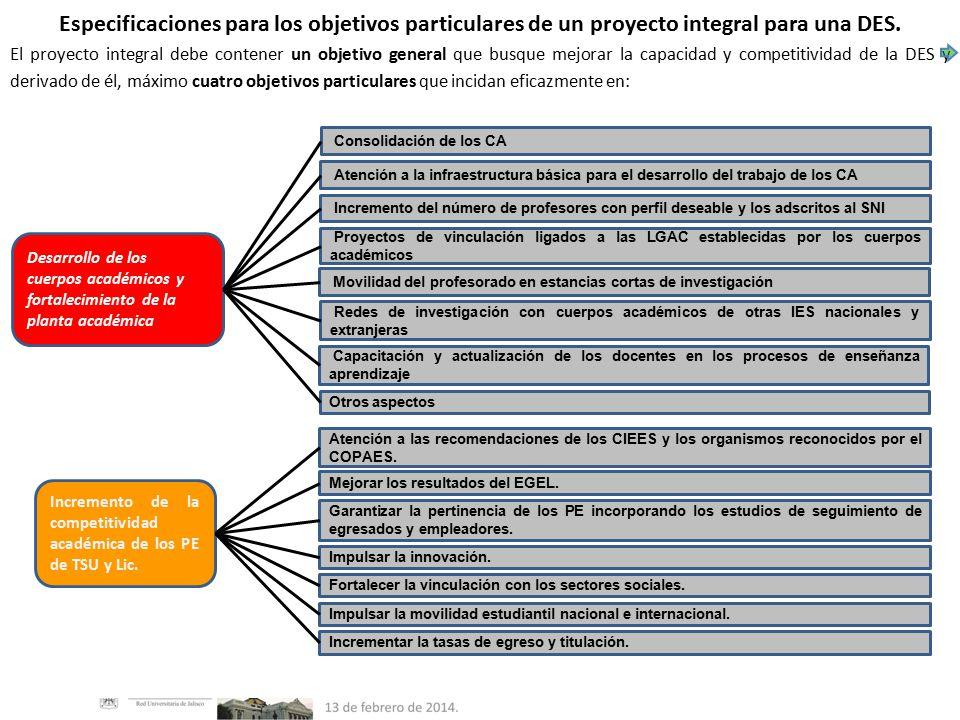 Especificaciones para los objetivos particulares de un proyecto integral para una DES.