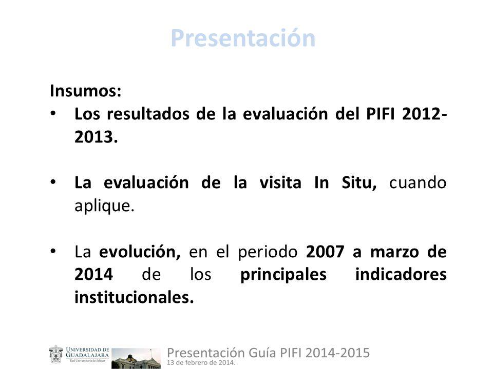 Insumos: Los resultados de la evaluación del PIFI 2012- 2013.
