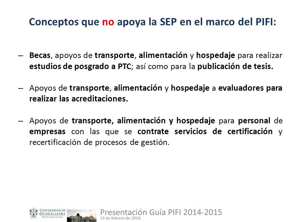 Conceptos que no apoya la SEP en el marco del PIFI: – Becas, apoyos de transporte, alimentación y hospedaje para realizar estudios de posgrado a PTC; así como para la publicación de tesis.