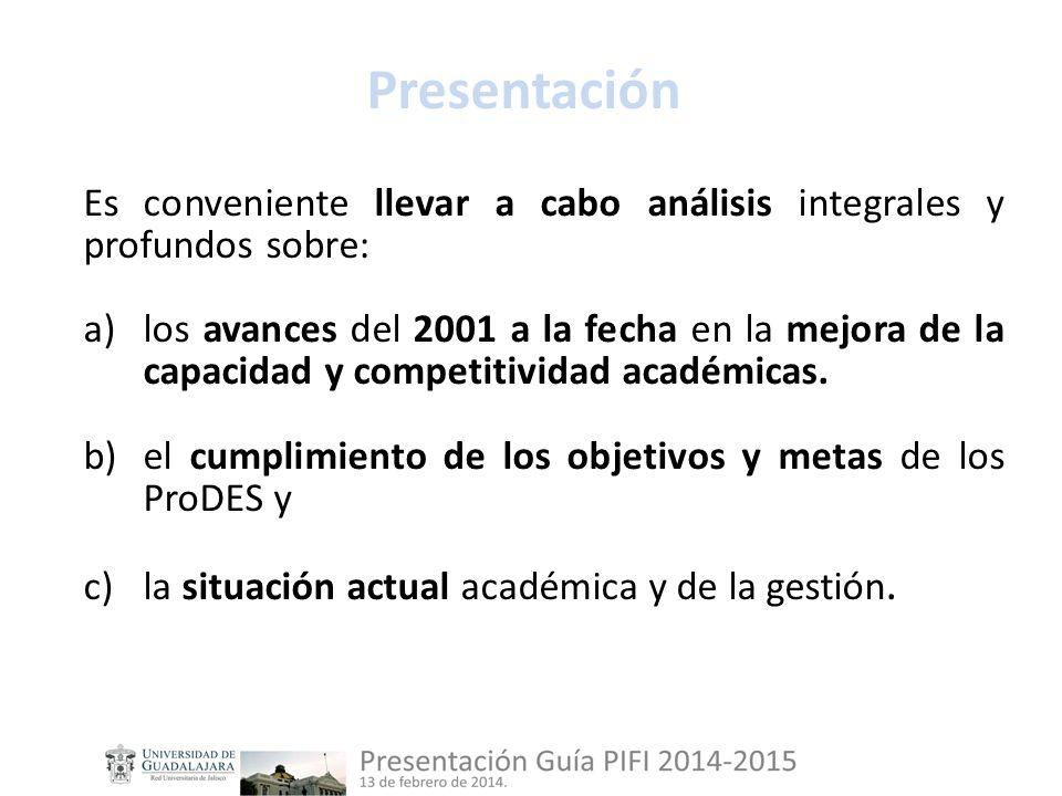 Presentación Es conveniente llevar a cabo análisis integrales y profundos sobre: a)los avances del 2001 a la fecha en la mejora de la capacidad y competitividad académicas.