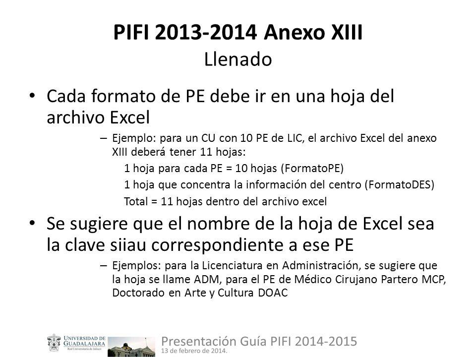 PIFI 2013-2014 Anexo XIII Llenado Cada formato de PE debe ir en una hoja del archivo Excel – Ejemplo: para un CU con 10 PE de LIC, el archivo Excel del anexo XIII deberá tener 11 hojas: 1 hoja para cada PE = 10 hojas (FormatoPE) 1 hoja que concentra la información del centro (FormatoDES) Total = 11 hojas dentro del archivo excel Se sugiere que el nombre de la hoja de Excel sea la clave siiau correspondiente a ese PE – Ejemplos: para la Licenciatura en Administración, se sugiere que la hoja se llame ADM, para el PE de Médico Cirujano Partero MCP, Doctorado en Arte y Cultura DOAC