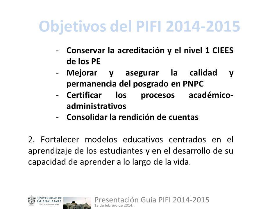 Objetivos del PIFI 2014-2015 -Conservar la acreditación y el nivel 1 CIEES de los PE -Mejorar y asegurar la calidad y permanencia del posgrado en PNPC -Certificar los procesos académico- administrativos -Consolidar la rendición de cuentas 2.
