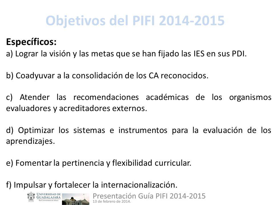 Objetivos del PIFI 2014-2015 Específicos: a) Lograr la visión y las metas que se han fijado las IES en sus PDI.