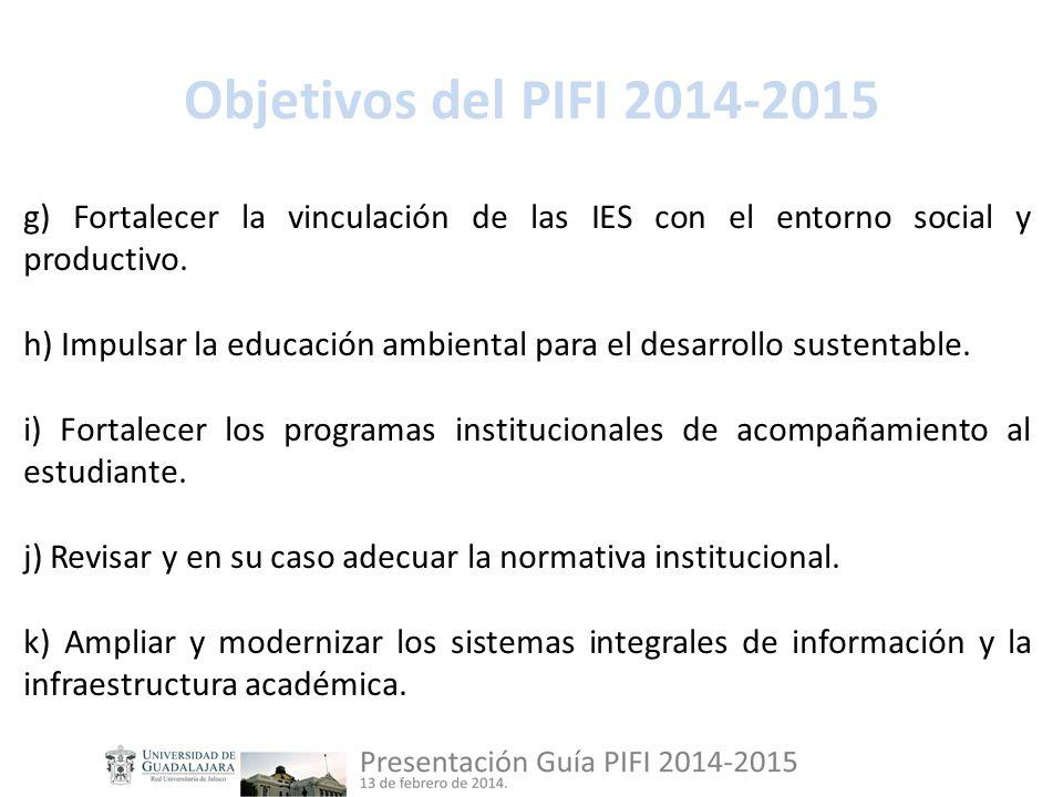 Objetivos del PIFI 2014-2015 g) Fortalecer la vinculación de las IES con el entorno social y productivo.