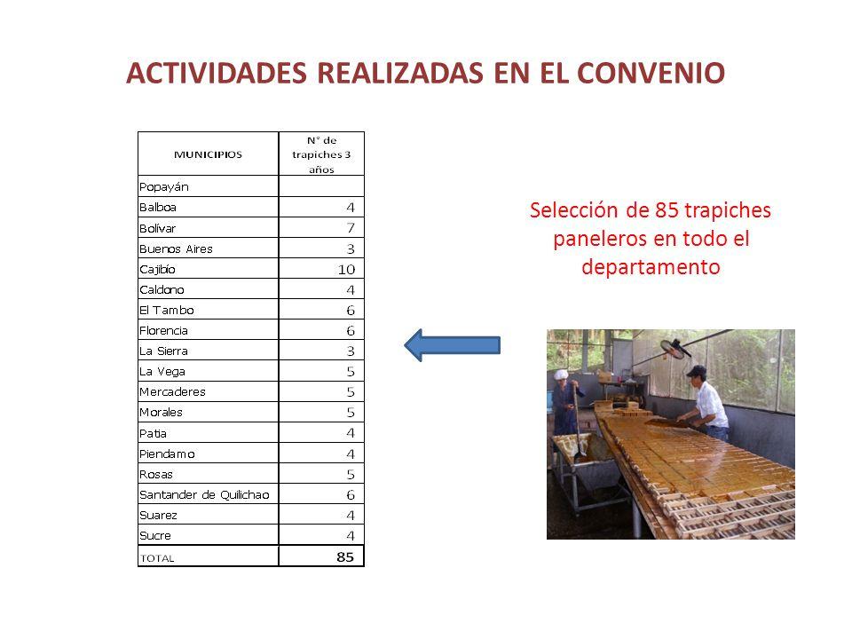 ACTIVIDADES REALIZADAS EN EL CONVENIO Selección de 85 trapiches paneleros en todo el departamento