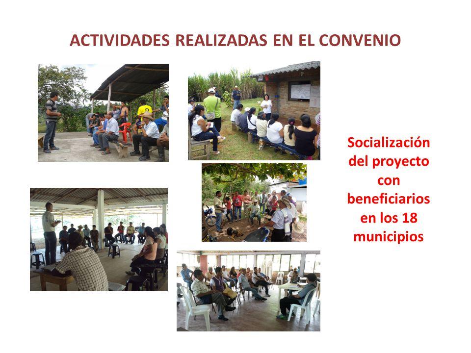 ACTIVIDADES REALIZADAS EN EL CONVENIO Socialización del proyecto con beneficiarios en los 18 municipios