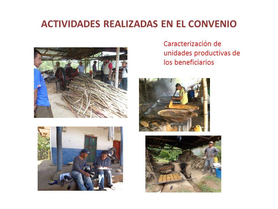ACTIVIDADES REALIZADAS EN EL CONVENIO Caracterización de unidades productivas de los beneficiarios