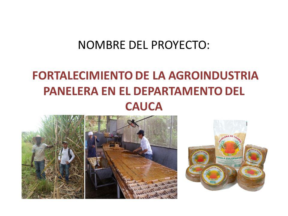 NOMBRE DEL PROYECTO: FORTALECIMIENTO DE LA AGROINDUSTRIA PANELERA EN EL DEPARTAMENTO DEL CAUCA