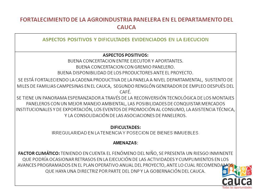 FORTALECIMIENTO DE LA AGROINDUSTRIA PANELERA EN EL DEPARTAMENTO DEL CAUCA ASPECTOS POSITIVOS Y DIFICULTADES EVIDENCIADOS EN LA EJECUCION ASPECTOS POSITIVOS: BUENA CONCERTACION ENTRE EJECUTOR Y APORTANTES.