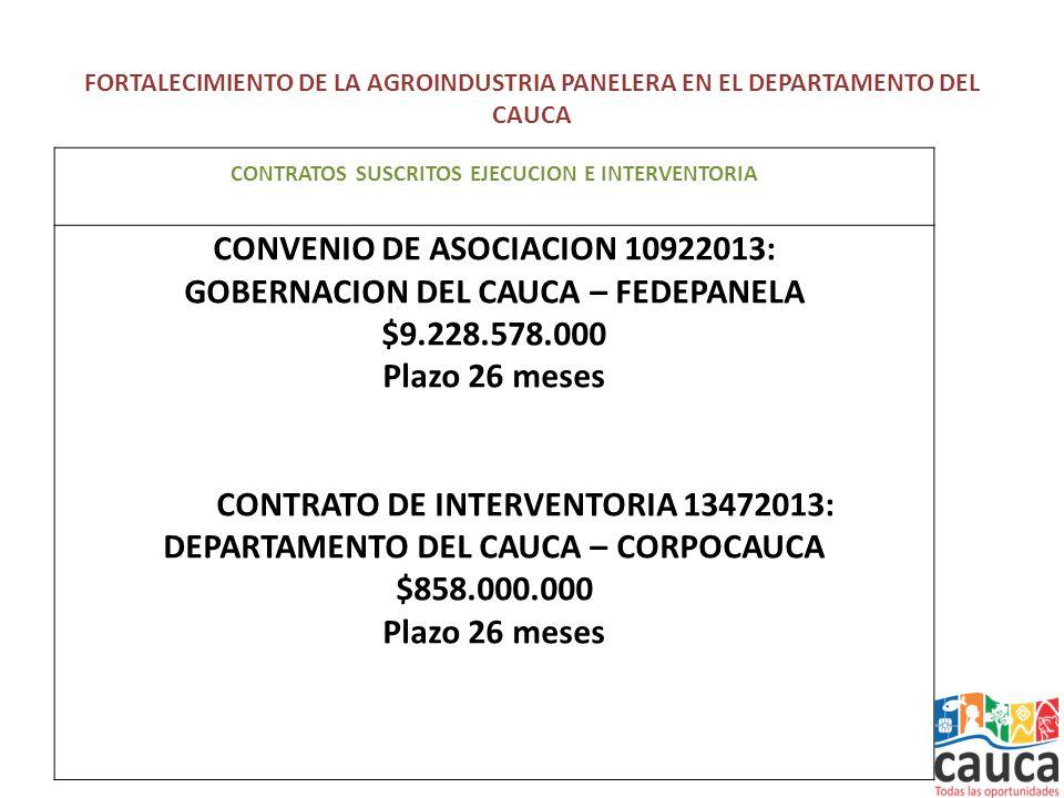FORTALECIMIENTO DE LA AGROINDUSTRIA PANELERA EN EL DEPARTAMENTO DEL CAUCA CONTRATOS SUSCRITOS EJECUCION E INTERVENTORIA CONVENIO DE ASOCIACION 10922013: GOBERNACION DEL CAUCA – FEDEPANELA $9.228.578.000 Plazo 26 meses CONTRATO DE INTERVENTORIA 13472013: DEPARTAMENTO DEL CAUCA – CORPOCAUCA $858.000.000 Plazo 26 meses