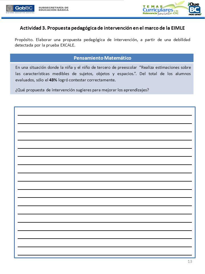 Actividad 3. Propuesta pedagógica de intervención en el marco de la EIMLE Propósito.
