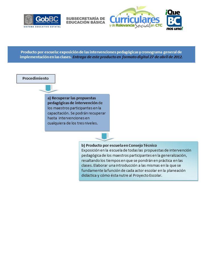 Producto por escuela: exposición de las intervenciones pedagógicas y cronograma general de implementación en las clases.