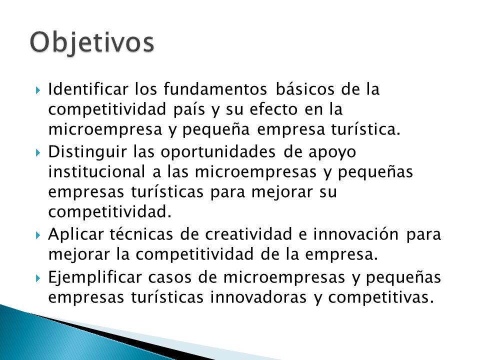  Identificar los fundamentos básicos de la competitividad país y su efecto en la microempresa y pequeña empresa turística.