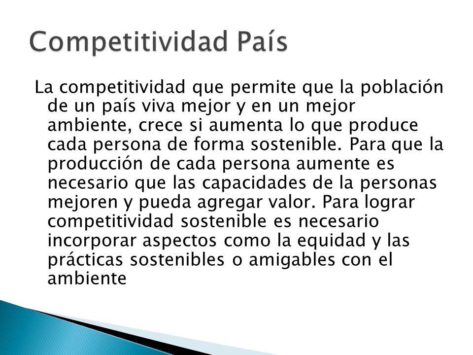 La competitividad que permite que la población de un país viva mejor y en un mejor ambiente, crece si aumenta lo que produce cada persona de forma sostenible.