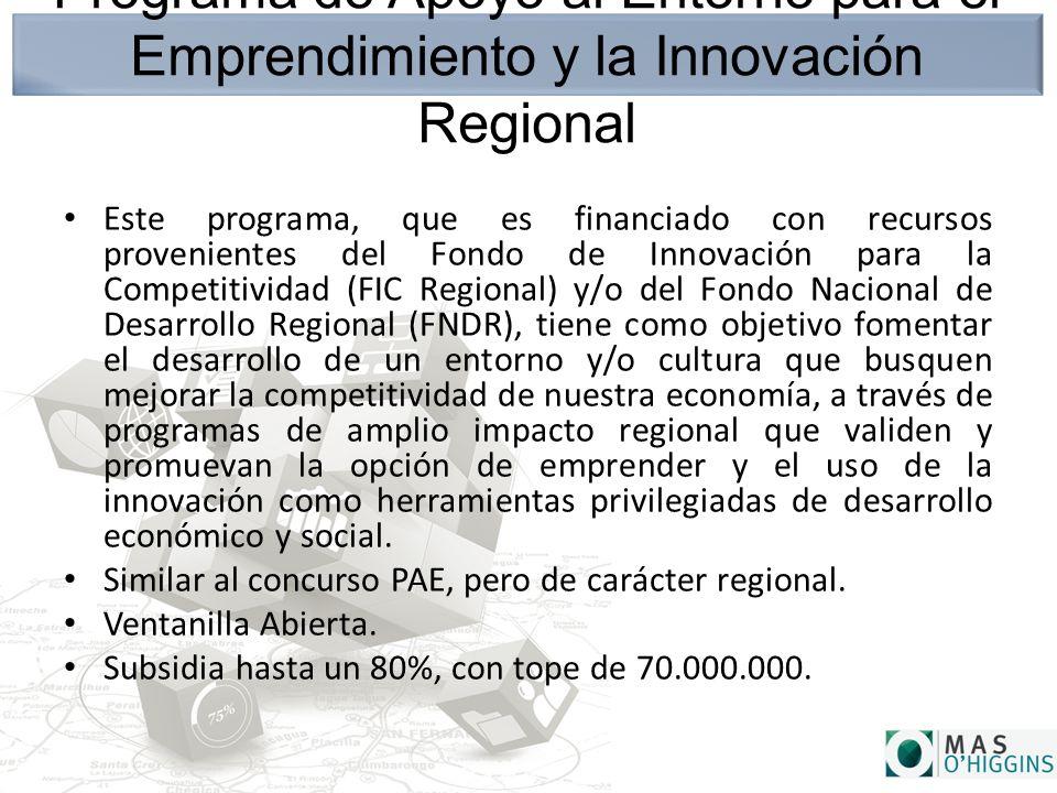 Programa de Apoyo al Entorno para el Emprendimiento y la Innovación Regional Este programa, que es financiado con recursos provenientes del Fondo de Innovación para la Competitividad (FIC Regional) y/o del Fondo Nacional de Desarrollo Regional (FNDR), tiene como objetivo fomentar el desarrollo de un entorno y/o cultura que busquen mejorar la competitividad de nuestra economía, a través de programas de amplio impacto regional que validen y promuevan la opción de emprender y el uso de la innovación como herramientas privilegiadas de desarrollo económico y social.