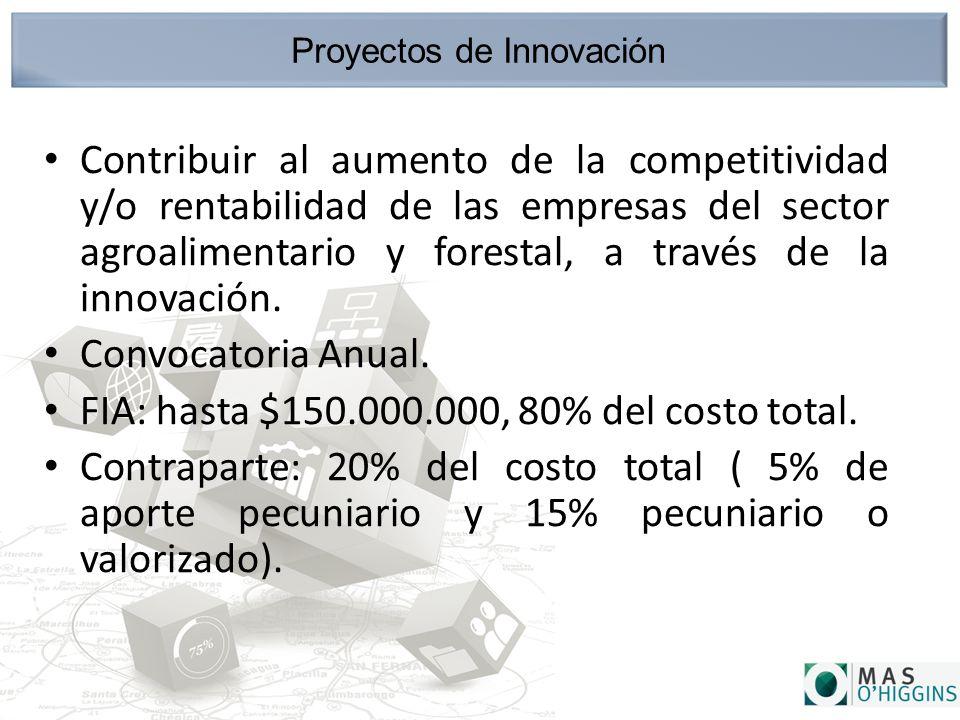 Proyectos de Innovación Contribuir al aumento de la competitividad y/o rentabilidad de las empresas del sector agroalimentario y forestal, a través de la innovación.