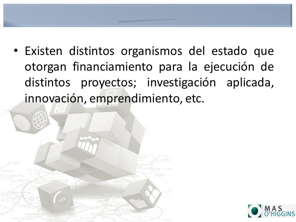 Existen distintos organismos del estado que otorgan financiamiento para la ejecución de distintos proyectos; investigación aplicada, innovación, emprendimiento, etc.