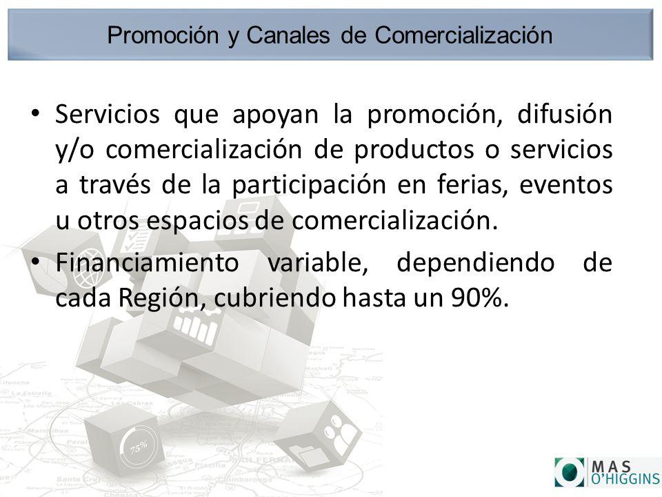 Promoción y Canales de Comercialización Servicios que apoyan la promoción, difusión y/o comercialización de productos o servicios a través de la participación en ferias, eventos u otros espacios de comercialización.