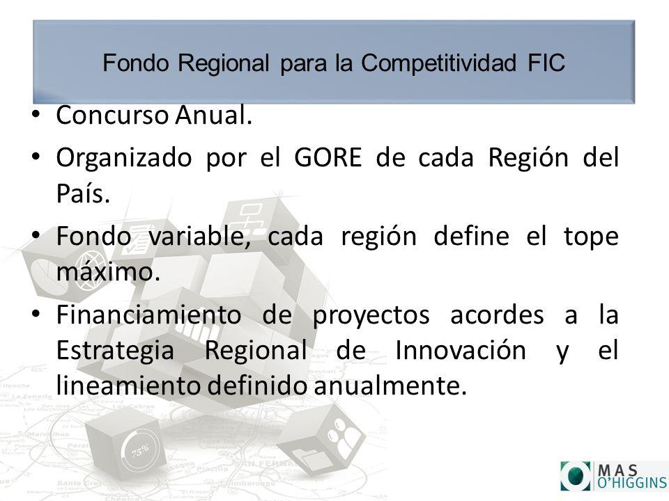 Fondo Regional para la Competitividad FIC Concurso Anual.