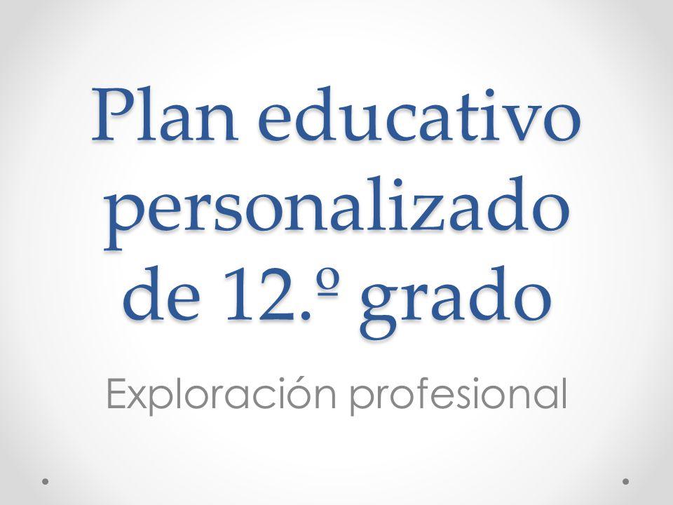 Plan educativo personalizado de 12.º grado Exploración profesional
