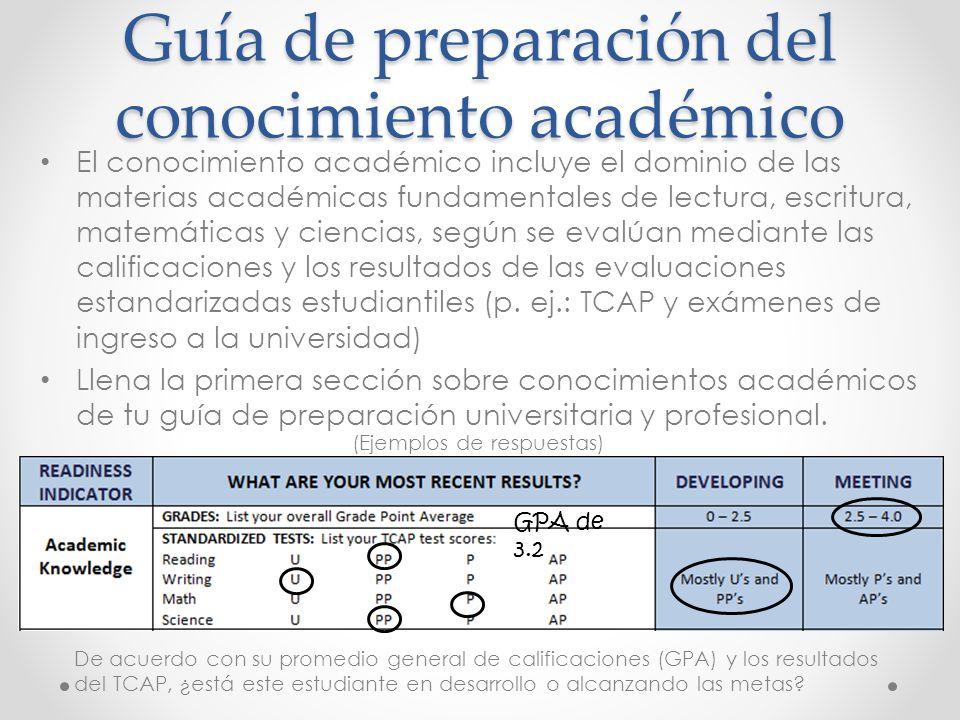 Guía de preparación del conocimiento académico El conocimiento académico incluye el dominio de las materias académicas fundamentales de lectura, escritura, matemáticas y ciencias, según se evalúan mediante las calificaciones y los resultados de las evaluaciones estandarizadas estudiantiles (p.
