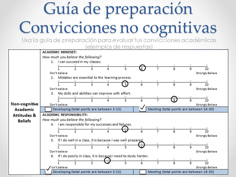 Guía de preparación Convicciones no cognitivas Usa la guía de preparación para evaluar tus convicciones académicas (ejemplos de respuestas)