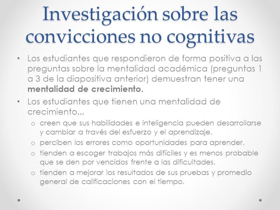 Investigación sobre las convicciones no cognitivas Los estudiantes que respondieron de forma positiva a las preguntas sobre la mentalidad académica (preguntas 1 a 3 de la diapositiva anterior) demuestran tener una mentalidad de crecimiento.