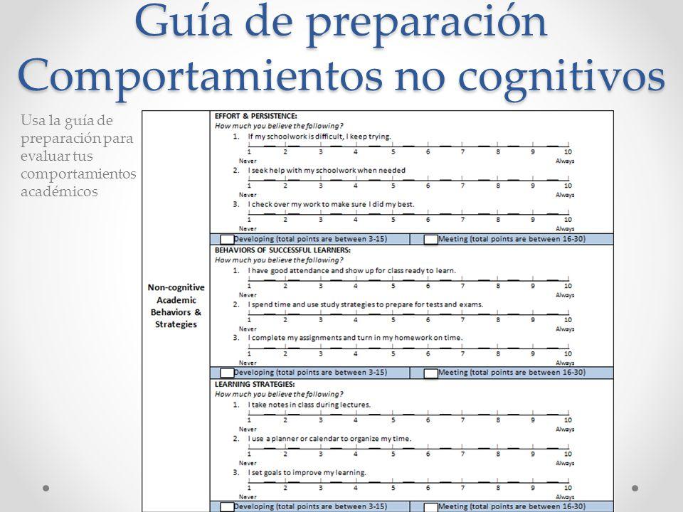 Guía de preparación Comportamientos no cognitivos Usa la guía de preparación para evaluar tus comportamientos académicos