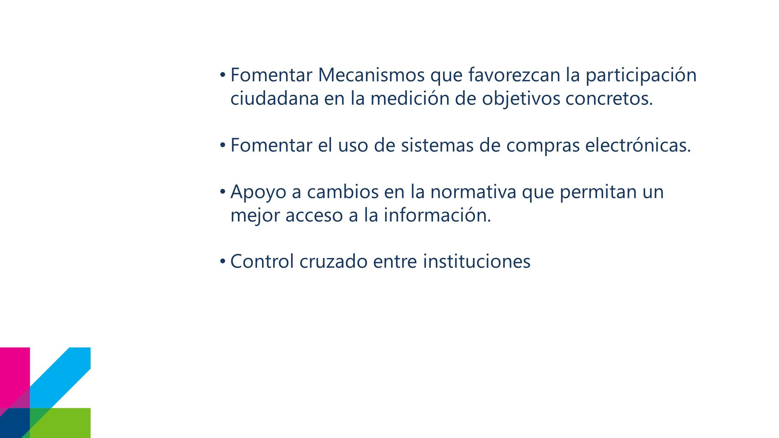 Fomentar Mecanismos que favorezcan la participación ciudadana en la medición de objetivos concretos.
