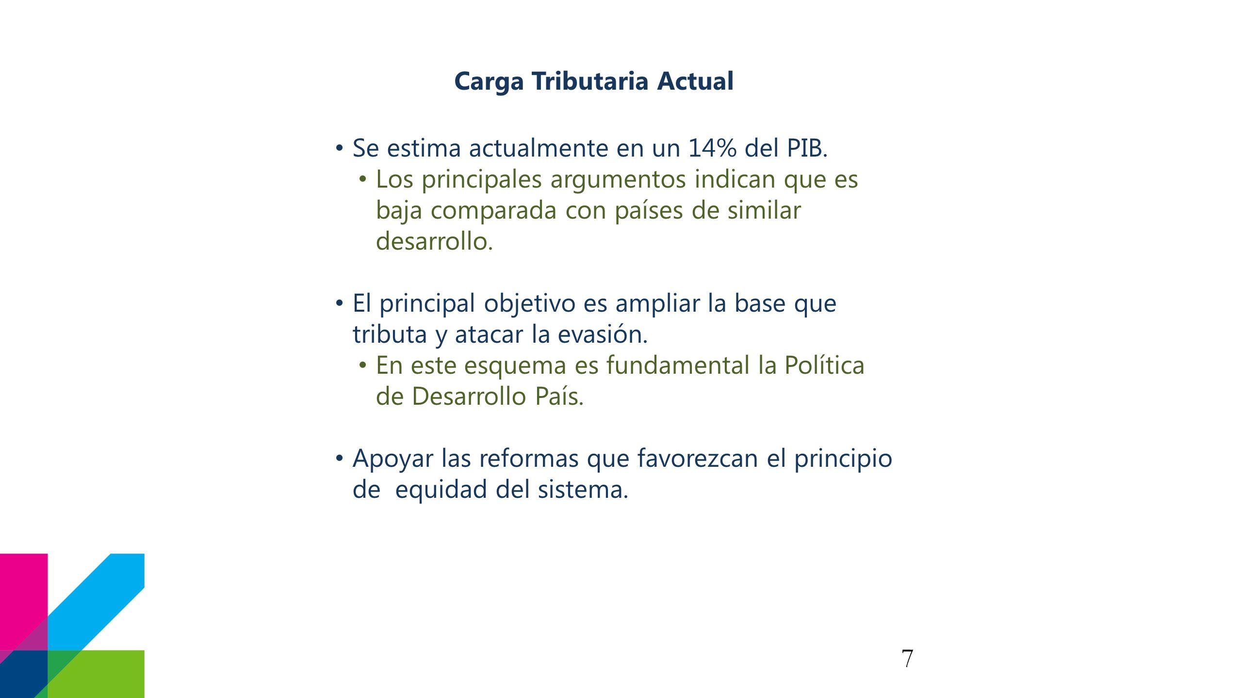 7 Carga Tributaria Actual Se estima actualmente en un 14% del PIB.