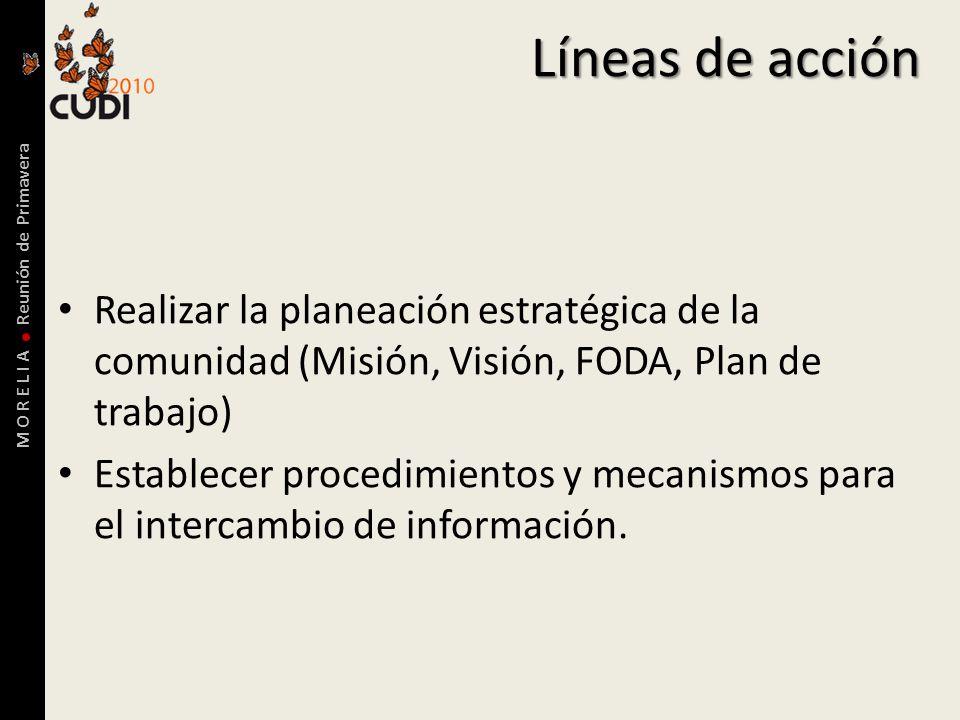 M O R E L I A Reunión de Primavera Líneas de acción Realizar la planeación estratégica de la comunidad (Misión, Visión, FODA, Plan de trabajo) Establecer procedimientos y mecanismos para el intercambio de información.