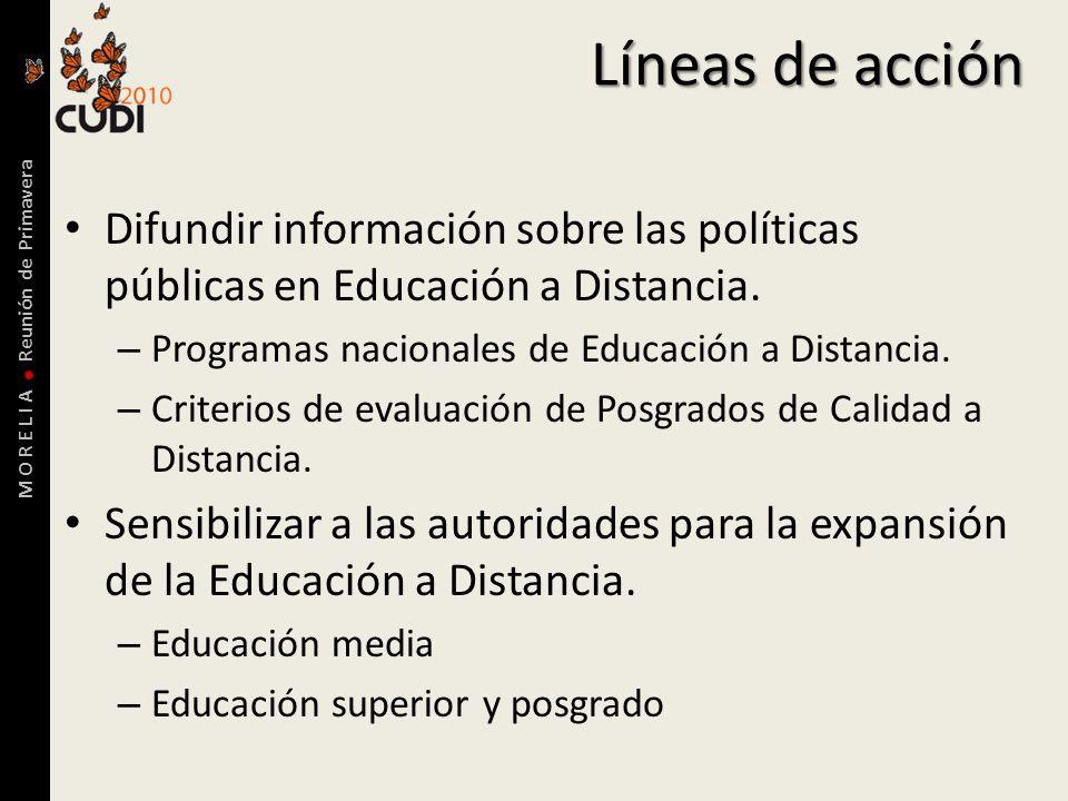 M O R E L I A Reunión de Primavera Líneas de acción Difundir información sobre las políticas públicas en Educación a Distancia.