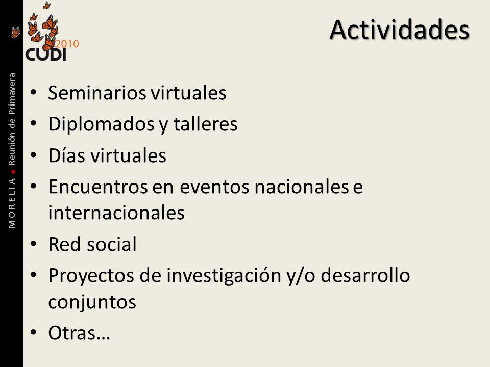 M O R E L I A Reunión de PrimaveraActividades Seminarios virtuales Diplomados y talleres Días virtuales Encuentros en eventos nacionales e internacionales Red social Proyectos de investigación y/o desarrollo conjuntos Otras…