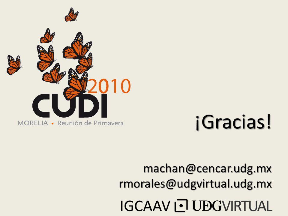 ¡Gracias! machan@cencar.udg.mx rmorales@udgvirtual.udg.mx