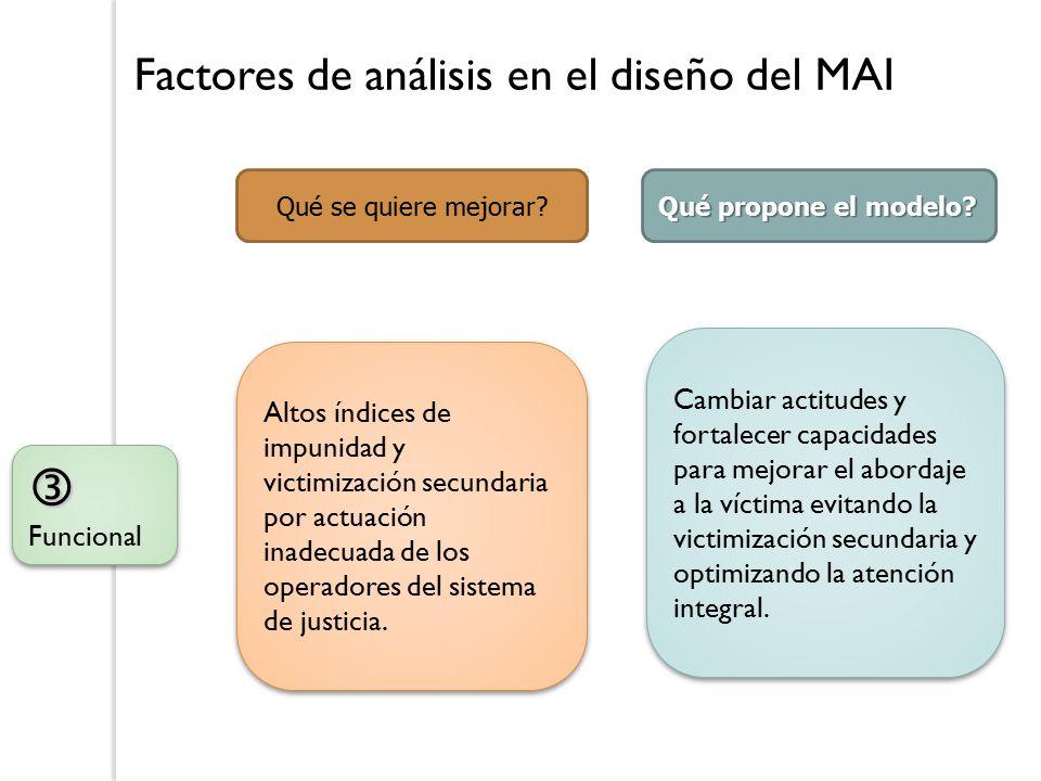 Factores de análisis en el diseño del MAI  Funcional Qué se quiere mejorar.