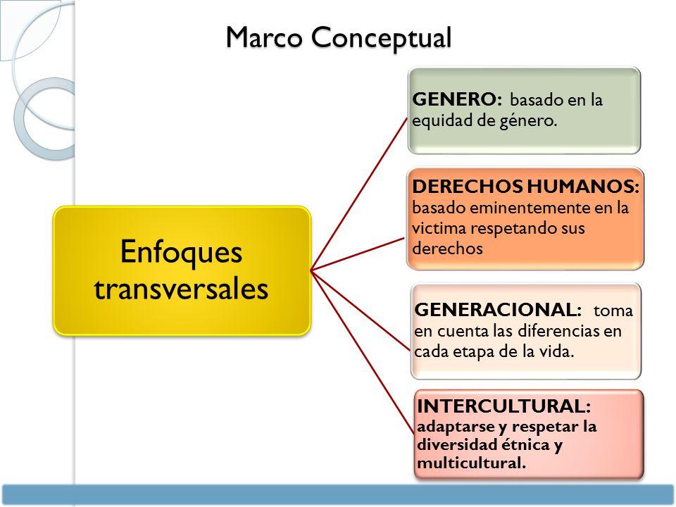 Marco Conceptual Enfoques transversales GENERO: basado en la equidad de género.